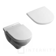 Villeroy & Boch O.Novo Zestaw miska WC wisząca Weiss Alpin 360x560 mm z deską wolnoopadającą ( 56601001 +9M38S101) 5660H101